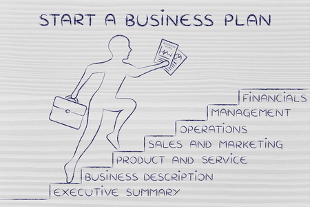 metaphorical: start a business plan: entrepreneur running up metaphorical steps with its elements