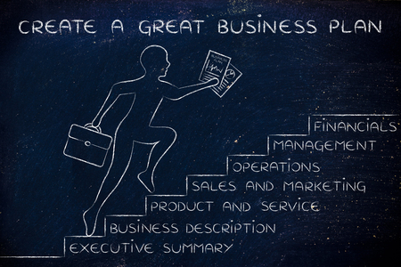 metaphorical: create a great business plan: entrepreneur running up metaphorical steps with its elements