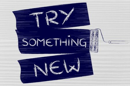 yourself: try something new: do it yourself inspired illustration of roller brush painting stripes Stock Photo