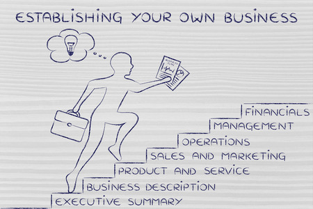 metaphorical: establishing your own business: entrepreneur running up metaphorical steps with its elements