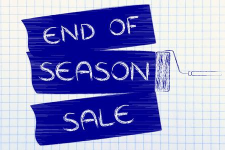 roller brush: end of season sale: illustration of roller brush painting marketing message Stock Photo