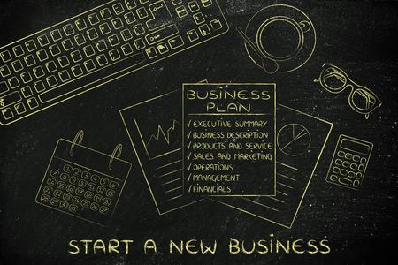 Start een nieuw bedrijf: bureau met overzicht van business plan elementen en gemengde objecten