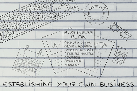 establishing: establishing your own business: illustration of an office desk with detailed documents
