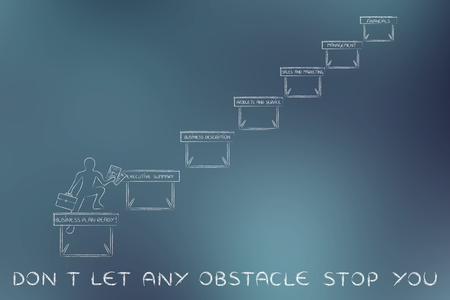 dont let any obstacle stop you: ceo jumpying obstacles with business plan sections Banco de Imagens