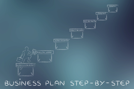 obstacles: business plan step-by-step: ceo jumpying obstacles with section names Stock Photo