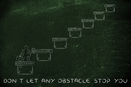 business obstacle: dont let any obstacle stop you: ceo jumpying obstacles with business plan sections Stock Photo