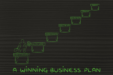 obstacles: a winning business plan: ceo jumpying obstacles with section names