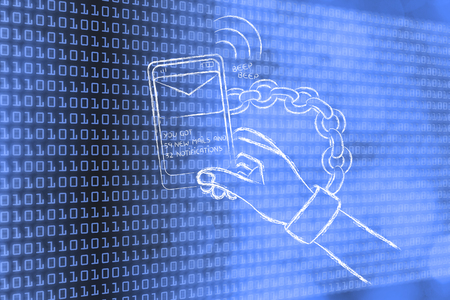 beeping: hand chained to a beeping mobile phone, on binary code & bokeh background Stock Photo