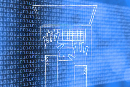 typing on computer: office life and working on computer: hands typing on a laptop on binary code & bokeh background
