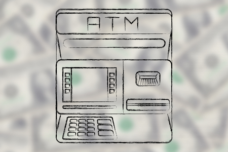 automatic teller machine bank: finance and banking services: design of an atm bank on blurred dollar background