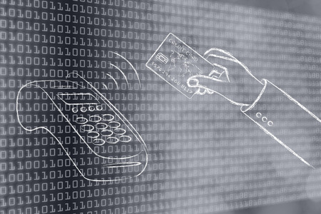 contactless: near field communication payments: paying with contactless card, on binary code & bokeh background