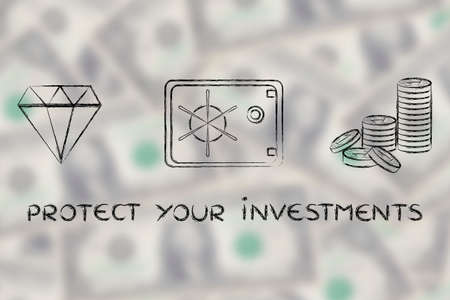 safe investments: investments: flat outline illustration with diamond, coins and safe on blurred dollar background