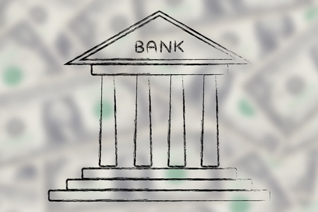 cuenta bancaria: concept of choosing the best bank account for your needs, bank on blurred dollar background Foto de archivo