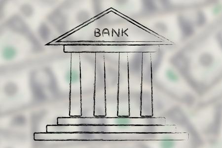 cuenta bancaria: el concepto de elegir la mejor cuenta bancaria para sus necesidades, el banco en el fondo borrosa dólar Foto de archivo