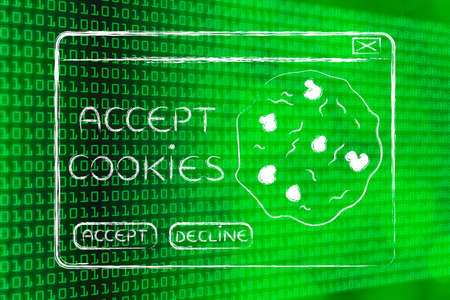 accepting: pop-up message about accepting cookies, on binary code & bokeh background Stock Photo