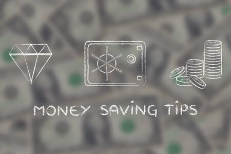 saving tips: Money saving tips: flat outline illustration with diamond, coins and safe on blurred dollar background