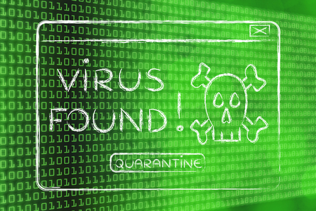 adware: pop-up message about a virus found, on binary code & bokeh background