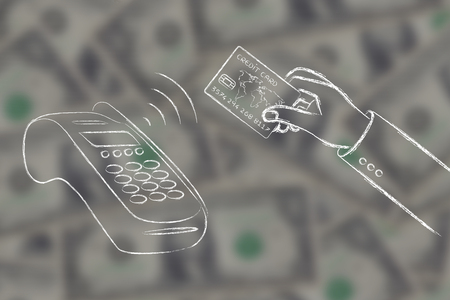 contactless: near field communication payments: client paying with contactless card on blurred dollar background