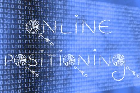 """concepts de marketing numérique: les mots """"de positionnement en ligne"""" avec des cibles réelles et des flèches"""