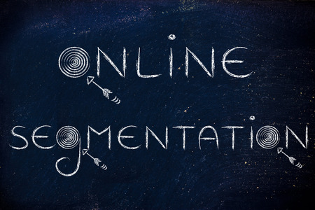 segmentation: digital marketing concepts: the words online segmentation with real targets and arrows Stock Photo