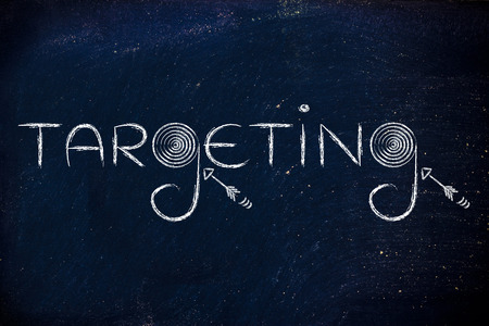 targeting: marketing concepts: the word targeting with real targets and arrows