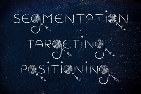 segmentation: marketing concepts: the words segmentation, targeting, positioning with real targets and arrows