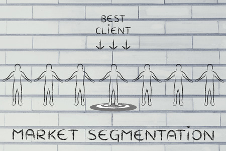 segmentation: market segmentation: person in a crowd with sign Best Client and standing on target Stock Photo