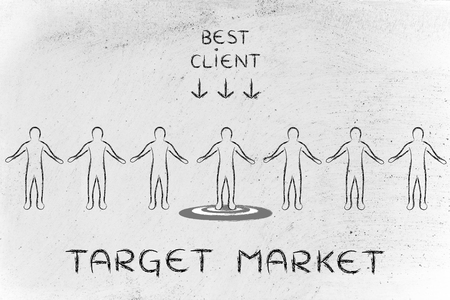target market: target market: person in a crowd with sign Best Client and standing on target
