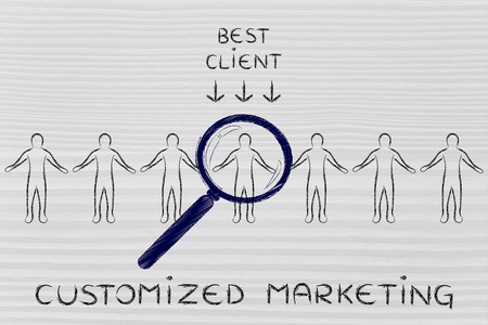 customized: Customized marketing: person in a crowd with magnifying glass and sign Best Client