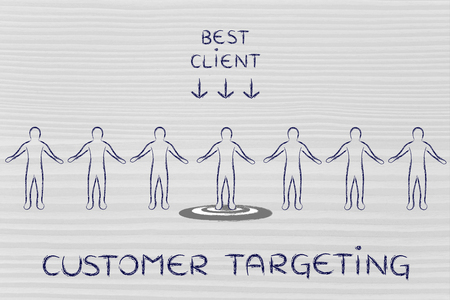 customer targeting: person in a crowd with sign Best Client and standing on target