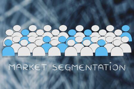 la segmentación del mercado: multitud de gente en azul seleccionándose