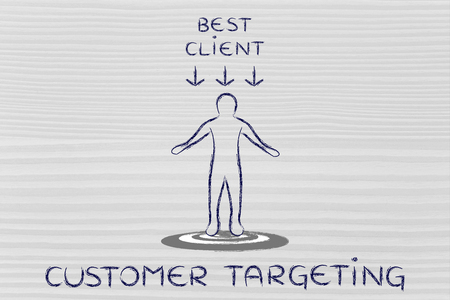 targeting: customer targeting: person standing on target with a Best Client sign above his head