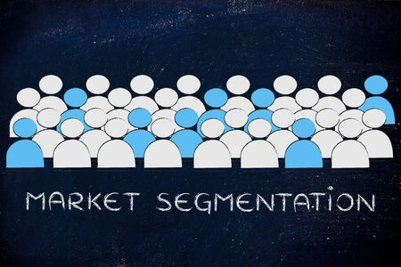 segmentation: market segmentation: crowd with people in blue being selected
