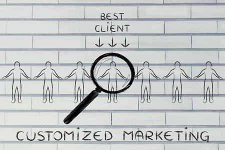 Customized marketing: person in a crowd with magnifying glass and sign Best Client