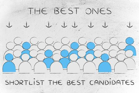 candidates: The best candidates: crowd with selected people in blue pointed at by arrows