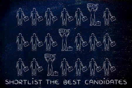 candidates: Shortlist the best candidates: a few standing out from the crowd with a Pick me banner