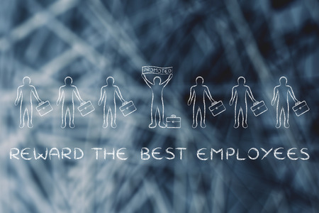 promoted: reward the best employees: person standing out &  holding a banner saying Promoted