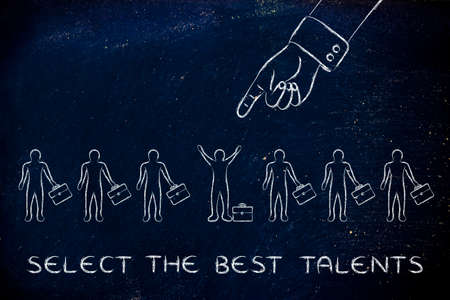 chosen: select the best talents: huge hand pointing at the chosen candidate