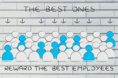 pointed arrows: The best employees: crowd with selected people in blue pointed at by arrows