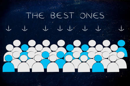 pointed arrows: The best ones: crowd with selected people in blue pointed at by arrows Stock Photo