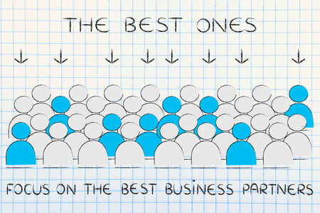 pointed arrows: The best business partners: crowd with selected people in blue pointed at by arrows