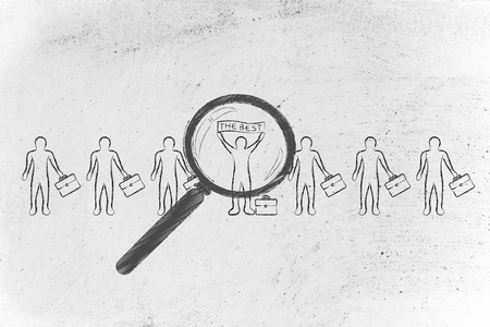 magnifying glass pointed at a candidate or business man standing out from the crowd with the best  banner Stock Photo