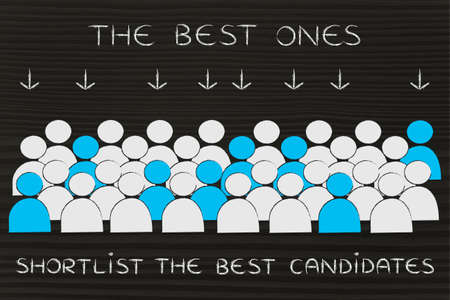pointed arrows: The best candidates: crowd with selected people in blue pointed at by arrows