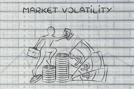 volatility: market volatility: trader climbing on top of coin stacks in front of stock exchange results Stock Photo