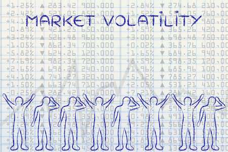 volatility: market volatility: group of traders with mixed feelings, happy or sad