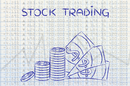 financial market: stock trading: stack of coins and cash on top of financial market data
