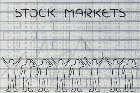 traders: stock markets: group of traders with mixed feelings, happy or sad
