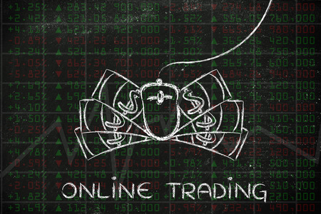 indexes: online trading: computer mouse and cash on top of stock exchange indexes