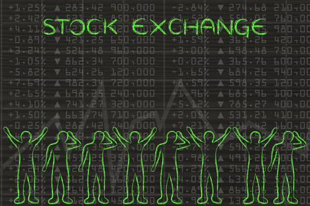 stock traders: stock exchange: group of traders with mixed feelings, happy or sad