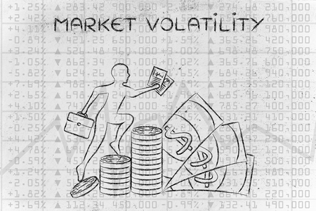 trader: market volatility: trader climbing on top of coin stacks in front of stock exchange results Stock Photo